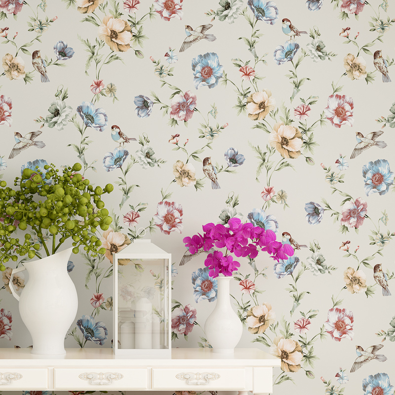 Luxury Chinese Classic Flowers Birds Wallpaper Romantic Country Style Papel De Parede Mural Wall