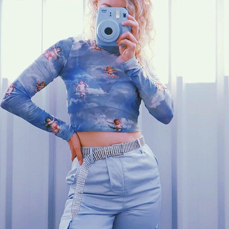 New Fashion Women See-through Sheer Mesh Fishnet T-Shirt Fashion Top Cute Angel Printed Female Summer Mesh Tops 9