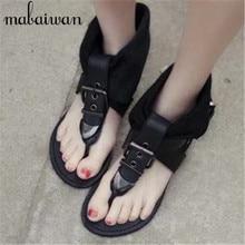 Fashion Black Flip Flops Summer Genuine Leather Women Sandals Rome Buckles Gladiator Sandal Flat Shoes Woman Summer Booties