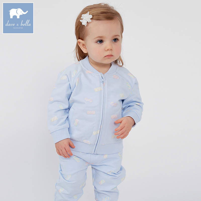 DBJ7428 dave bella spring baby girls clothing sets kids blue print suit children toddler outfits high