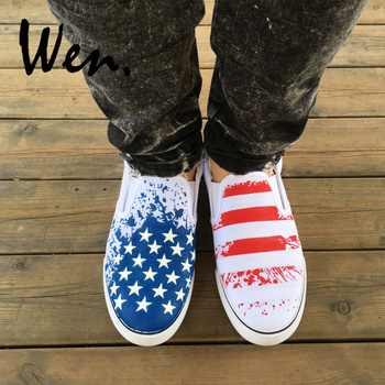 Wen Unisex Slip On Shoes Design Custom USA American Flag Pattern Man Woman's Hand Painted Canvas Sneakers Platform Plimsolls
