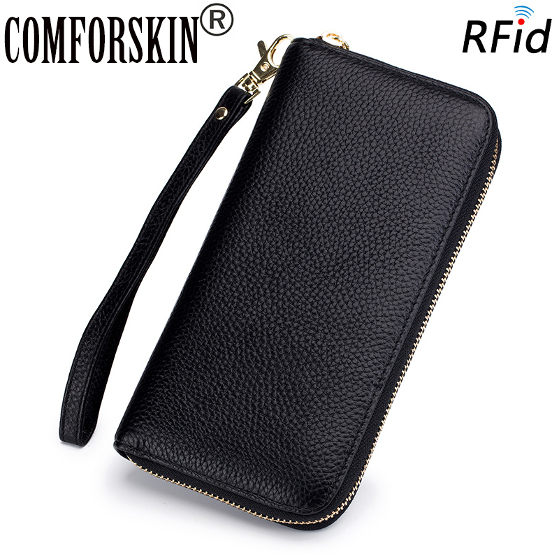 COMFORSKIN Premium 100% Cowhide Leather Organizer Women Wallets RFID Protection Large Capacity Zipper Purses Carteira Feminina