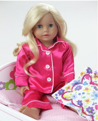 18 Inch Doll Clothes Outfit, Sophia's Hot Pink,Purple,Red Satin Doll Pj's , Doll Pajamas Set Fits American Girl Dolls american girl doll clothes set for 18 inch dolls beautiful dolls dresses outfit set fashion 18 inch doll clothes and accessories