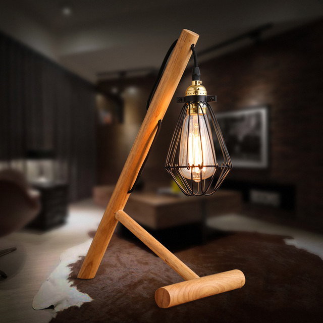Newest wood art craft table lamp desk light handmade eco friendly newest wood art craft table lamp desk light handmade eco friendly industrial edison bulbs cage shade mozeypictures Image collections
