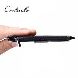 CONTACT'S Стильный мужской кошелек из натуральной кожи от бренда со специальными  отделениями для хранения денег и ID карт 2019