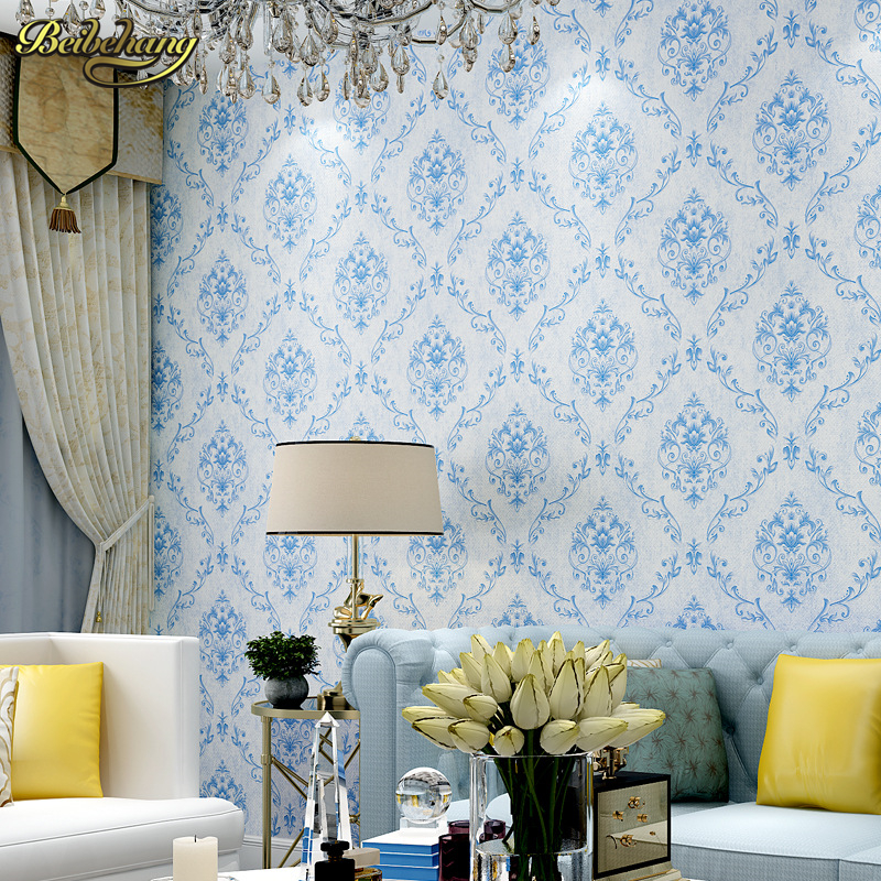 beibehang European Blue white porcelain Fabric Wallpaper Wall Covering Roll Home Decor Living Room Bedroom 3D wall paper tapety the ivory white european super suction wall mounted gate unique smoke door