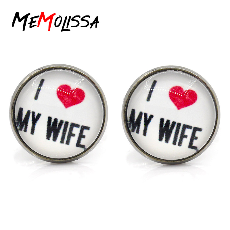 Promotion!!! 2018 New Fashion I Love My Wife Cufflinks Love Wife Cuff Link Love Cufflink Silver Shirt Cufflinks Women
