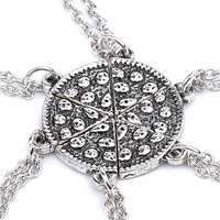 Charm Pizza Points 7 Series Disc Necklace With Good Friends Share The Necklace