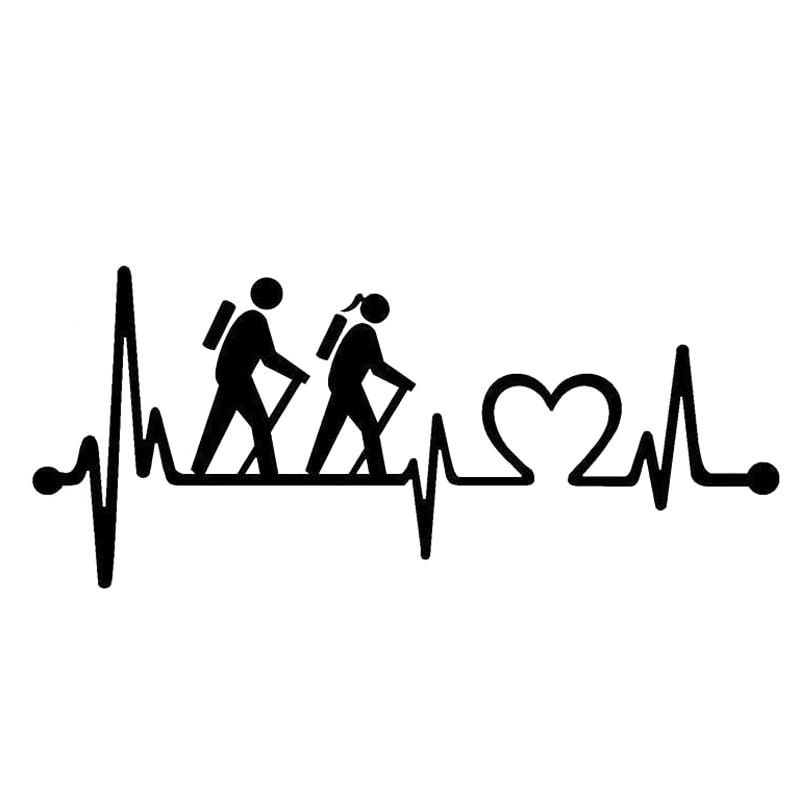 14.9CM*6.5CM Hiking Hiker Couple Heartbeat Lifeline Vinyl Decal Car Sticke S9-0297