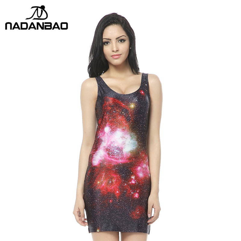 NADANBAO New Arrival Vestidos Beach Dress Galaxy Digital Print Mini Bodycon Dress Women Summer Sexy Clothing for Party Dess