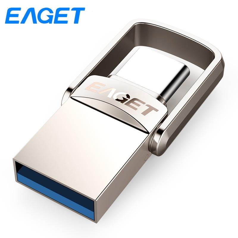 Eaget CU20 USB Flash Drive 16Gb 32GB 64GB Usb 3.0 Type C Pendrive flash disk U Disk Pen drive Metal USB stick For Samsung Phone цена 2017