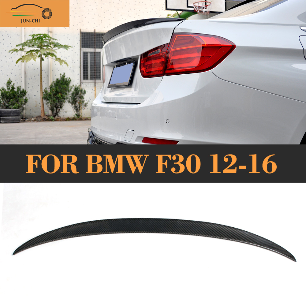 P Style Carbon Fiber Rear Wing Spoiler for BMW F30 Spoiler 3 Series F80 M3 Sedan 12-17 318i 320i 328i 335i 340i for bmw e36 318i 323i 325i 328i m3 carbon fiber headlight eyebrows eyelids 1992 1998