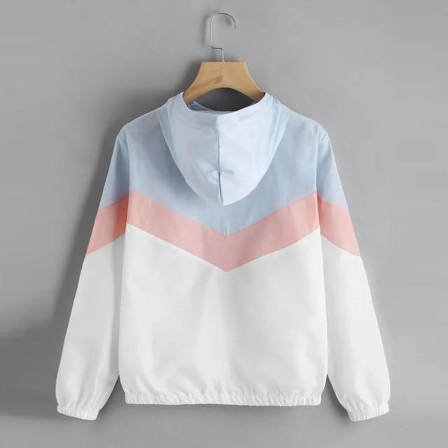 Women Windbreaker Jacket Female Multicolor Patchwork Hooded Jacket Basic Jackets Color Block Coats For Women 2