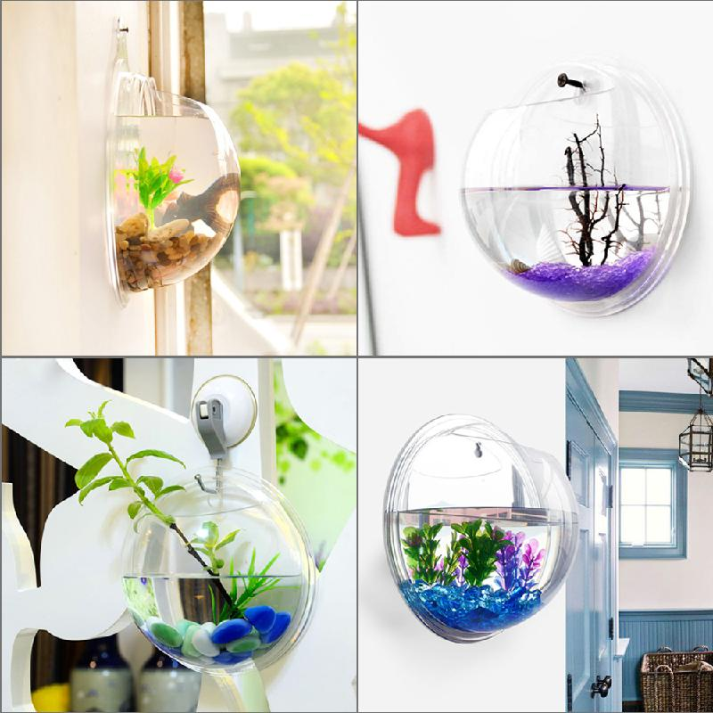 Wall hanging mount bubble aquarium bowl fish tank aquarium for Aquarium for home decoration