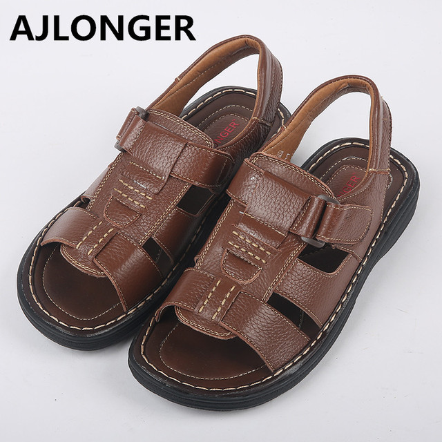 AJLONGER Man Sandals Genuine Leather Fashion Summer Shoes Men Slippers Breathable Men's Sandals Causal Shoes Leather