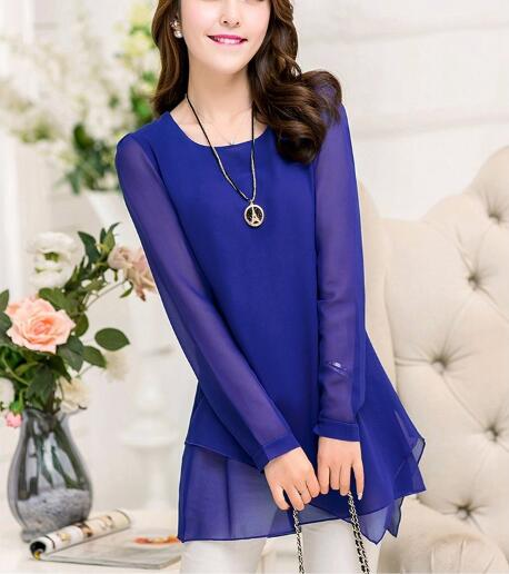 Autumn Royal Blue Round Neck Layered Blouse Casual Loose Long Sleeve Irregular Hem Chiffon Shirt