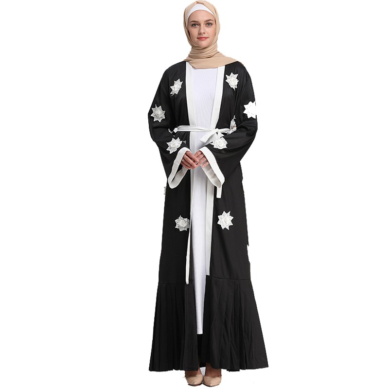 ad5b7314dd21c Abaya Cardigan Robe Dubai Muslim Dress Long Pleated Pearls Floral Abayas  For Women Hijab Dress Caftan