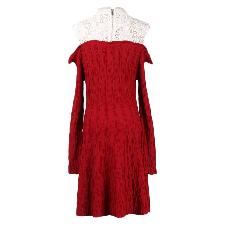 Longues Élégante Piste Automne Manches L'épaule De À Tricoté Femelle Dentelle Couture 2018 Robe Robes Femmes black Red Pull 5XBPwnxqH