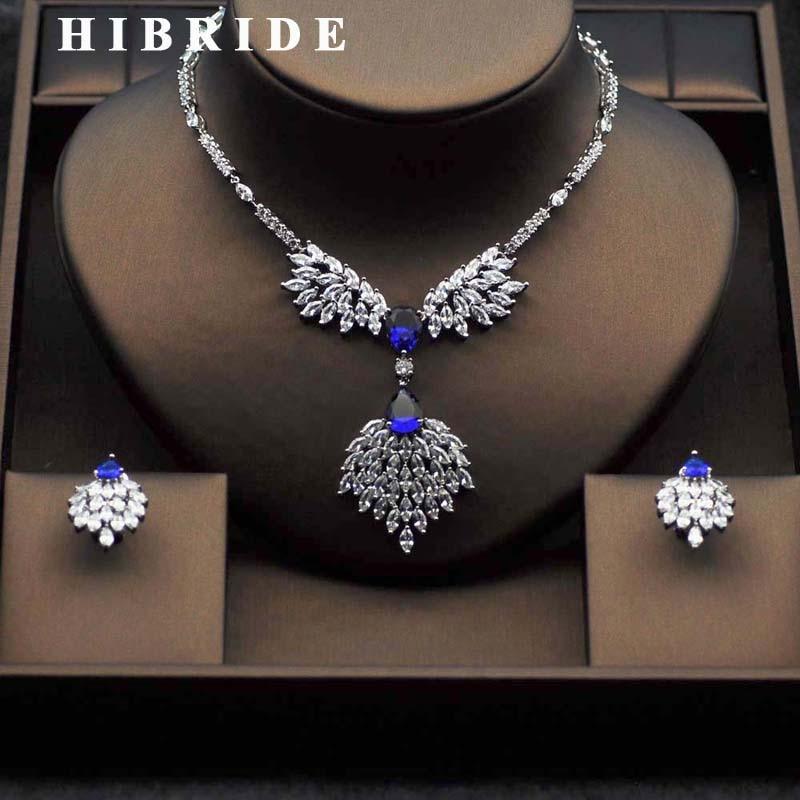 HIBRIDE Top Crystal CZ Bridal Jewelry Sets Elegant Flower Shape White Gold Color Necklace Earring Set