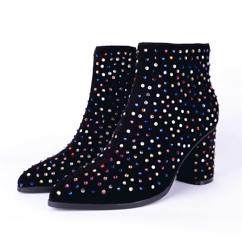 Noir Épais Bottes Et De Femmes Talons Mode Automne Pointu À Plush Short Chaussures Hauts black Exquis Bout Décoratif D'hiver 0Zdtqxw