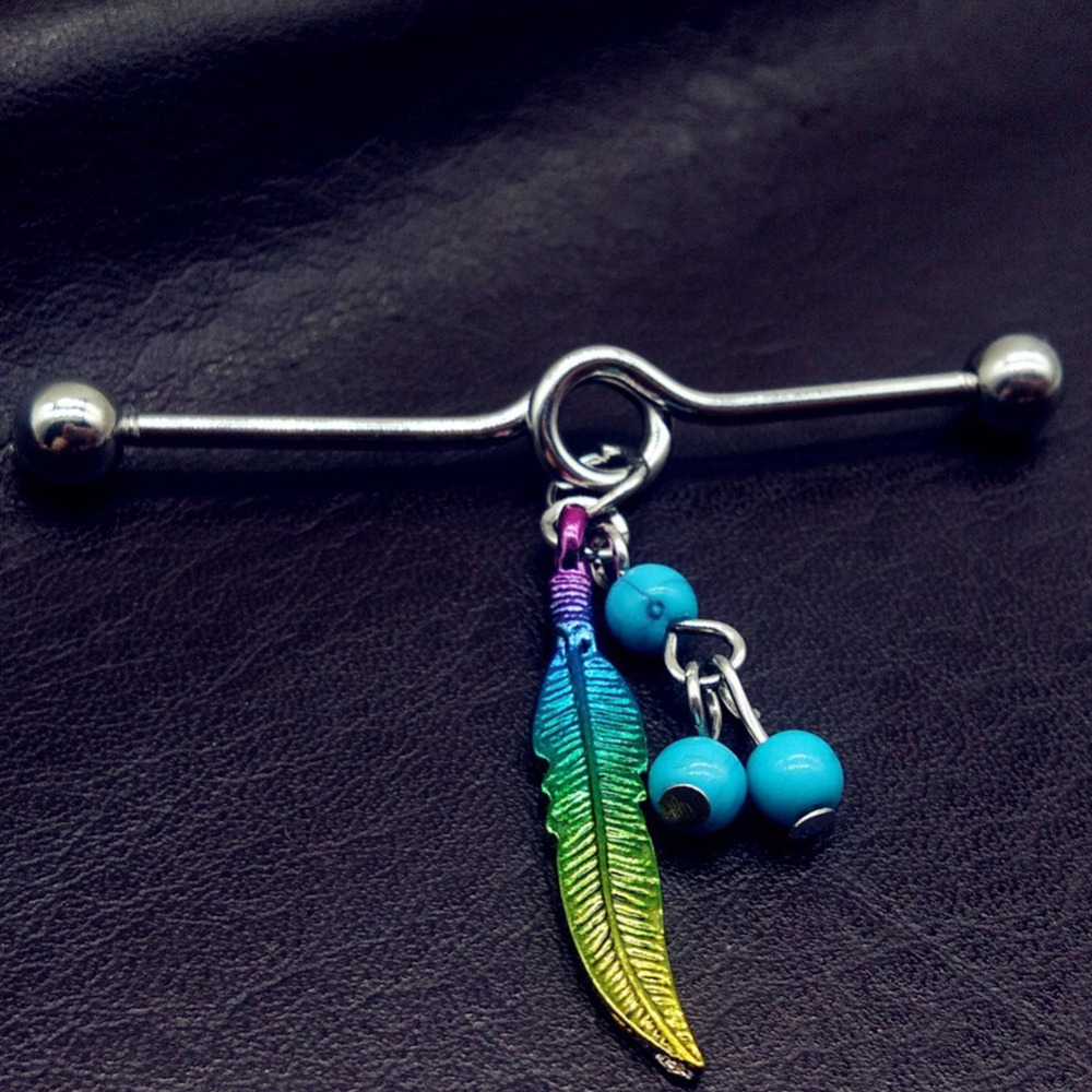 1PCS 14G Dream Catcher Industrial Piercing Barbell Stud Ear Ring Piercing