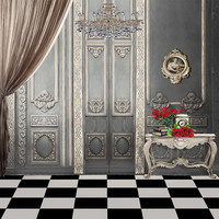 Vintage Grey Wall Interior Wedding Photography Backdrop Printed Crystal Chandelier Curtain Red Roses Photo Studio Backgrounds