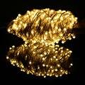 50 m 500 Leds LED Branco Quente Luz Da Corda De Fio De Prata Estrelado Luzes Da Árvore de Natal Luzes De Fadas + Adaptador de Energia (REINO UNIDO, EUA, UE, AU Plug)
