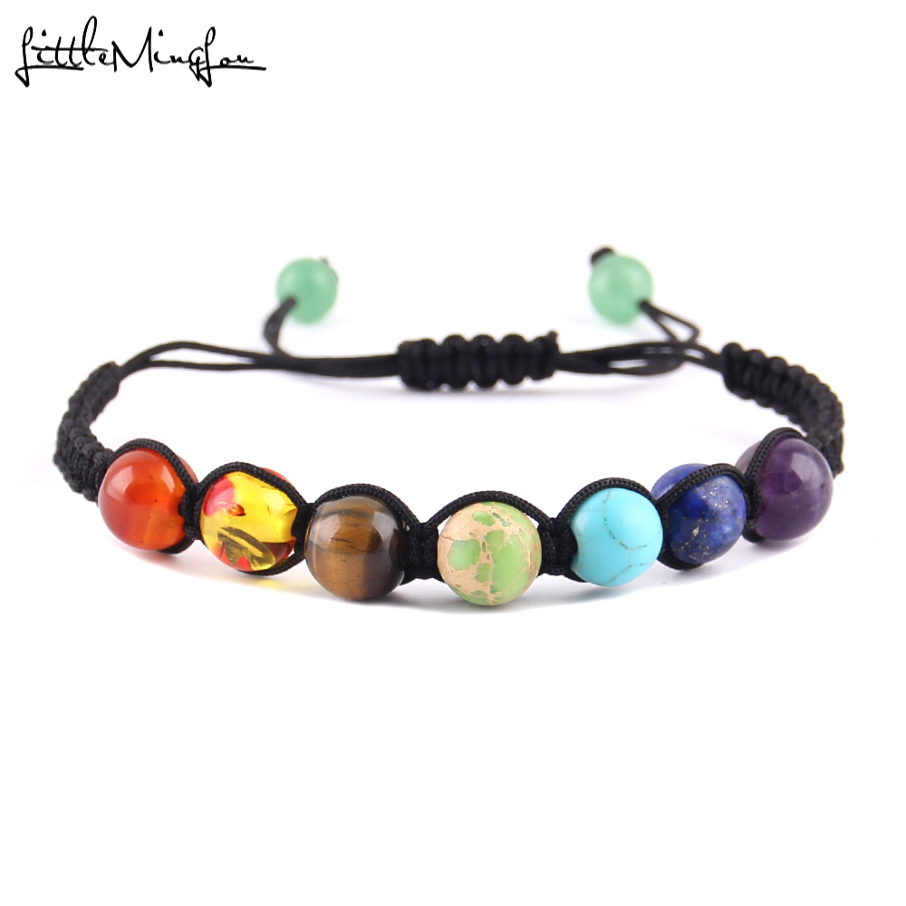 Little minglou natureza pulseiras de pedra para as mulheres da marca de cristal cintilante yoga 7 chakras contas de equilíbrio de cura pulseiras presentes dos homens