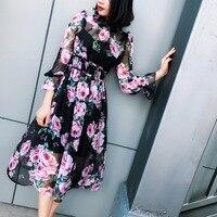 2018 Spring Summer New Black Chiffon Rose Printed Dress Women S Dress 180324JT01