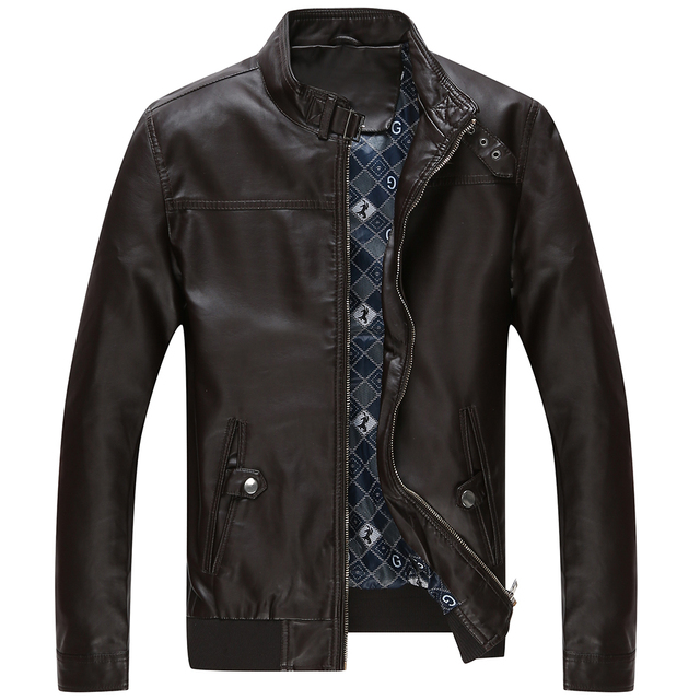 jaqueta de couro masculina men leather jacket fur coat middle-aged leather PU jacket coat stand collar size male 4XL