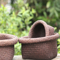 37x31x16cm Durable Natural Seagrass Woven Box Flower Basket Bath Baskets Kitchen Finishing Green Home Storage 3