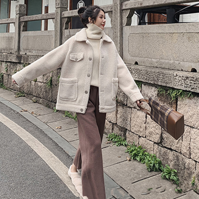 Harbor wind cashmere coat female winter 2019 new Korean tide lapel fur one plus velvet thick bomber jacket woman veste femme