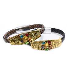 HIYONG Marvel Movie Avengers Infinity War Bracelets Lnfinity Magnet Buckle Crystal Leather Braided Chain Bracelet Men Jewelry