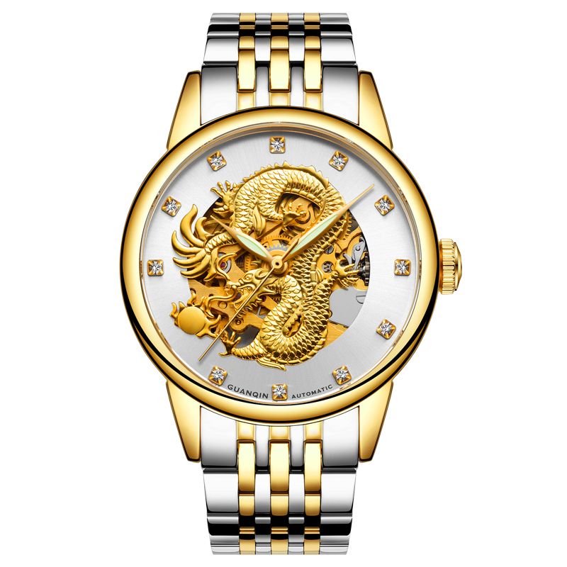 GUANQIN GJ16059 watches men luxury brand Chinese dragon mechanical automatic waterproof stainless steel luminous gold watch china custom shop transparant grey finish lp electric guitars with mahogany solid body for sale