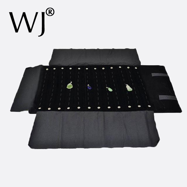 Superior Black Velvet Jewelry Display Travel Roll Bag Foldable Pendant Necklace Chain Stand Holder Organizer Cases 96 Hooks