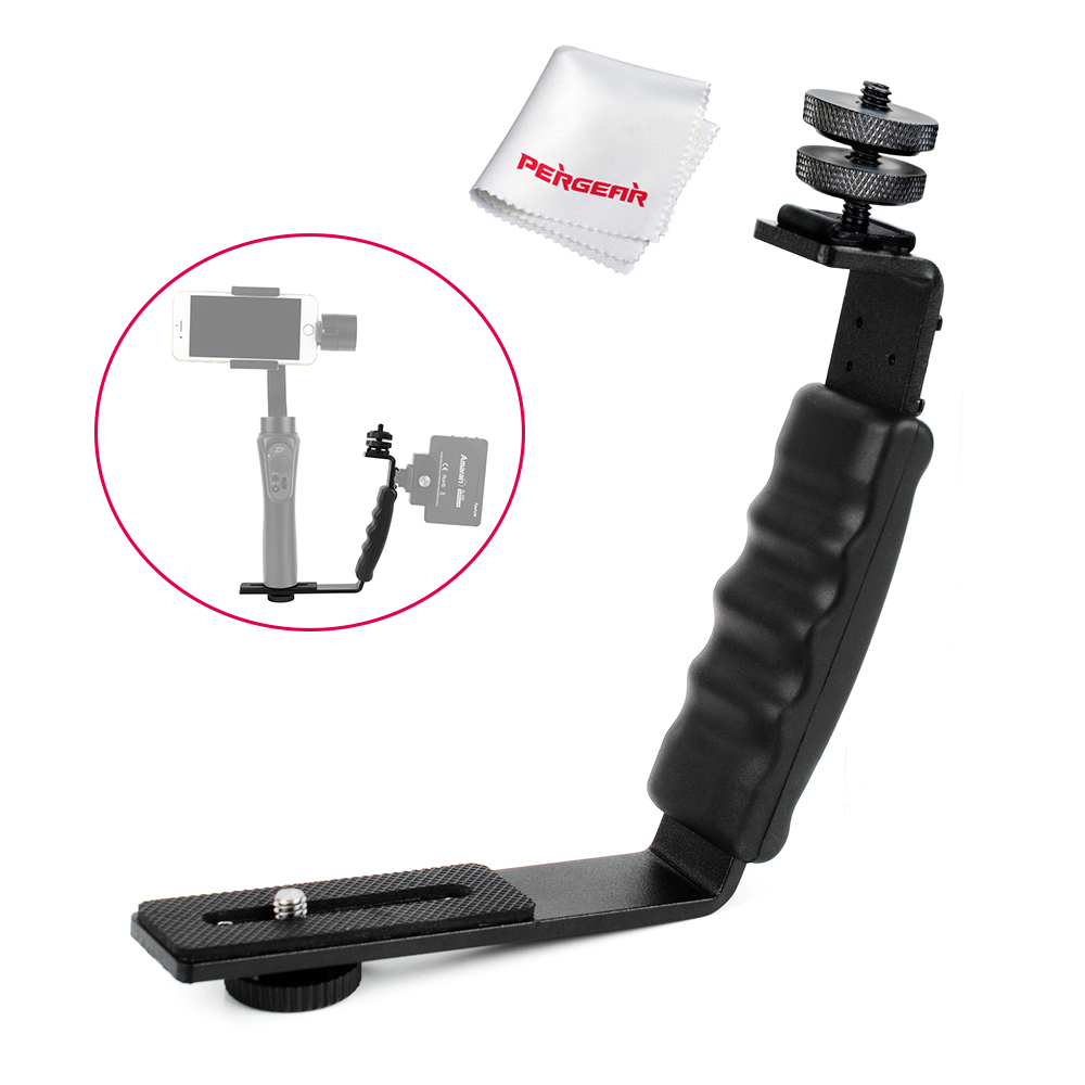 Pergear L Bracket for Photography Microphone Stand Zhiyun Smooth Q 3 4 Crane 2 with 2 Hot Shoe Mounts / 1/4 Screw Shoe Adapter