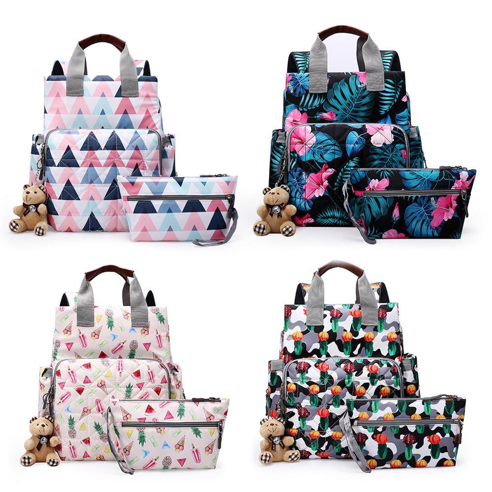 5pcs//set Women Shoulder Bag Handbag Shopping Tote Floral Travel Mummy Nappy Bag