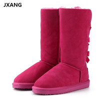 JXANG Butterfly Knot Real Cowhide Leather Women Snow Boots 100 Natural Fur Warm Wool Boots Women