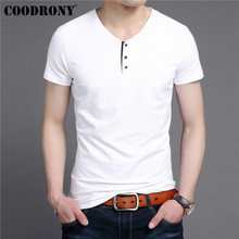 COODRONY Streetwear Tee Casual Henry Collar T Shirt Men Slub Cotton T-Shirt Men Clothing 2019 Summer Short Sleeve Tshirt S95099 flower cluster print slub t shirt