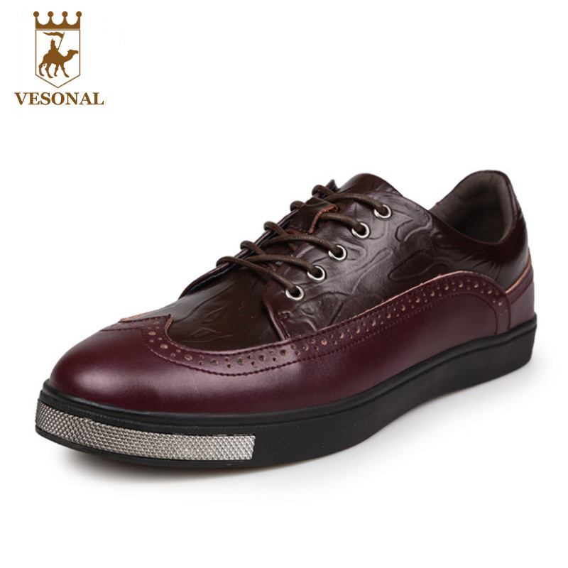 VESONAL 2017 Genuine Leather Brand For Men Casual Male Shoes Adult Spring Autumn Walking Man Footwear Quality Breathable Oxfords vesonal 2017 quality mocassin male brand genuine leather casual shoes men loafers breathable ons soft walking boat man footwear