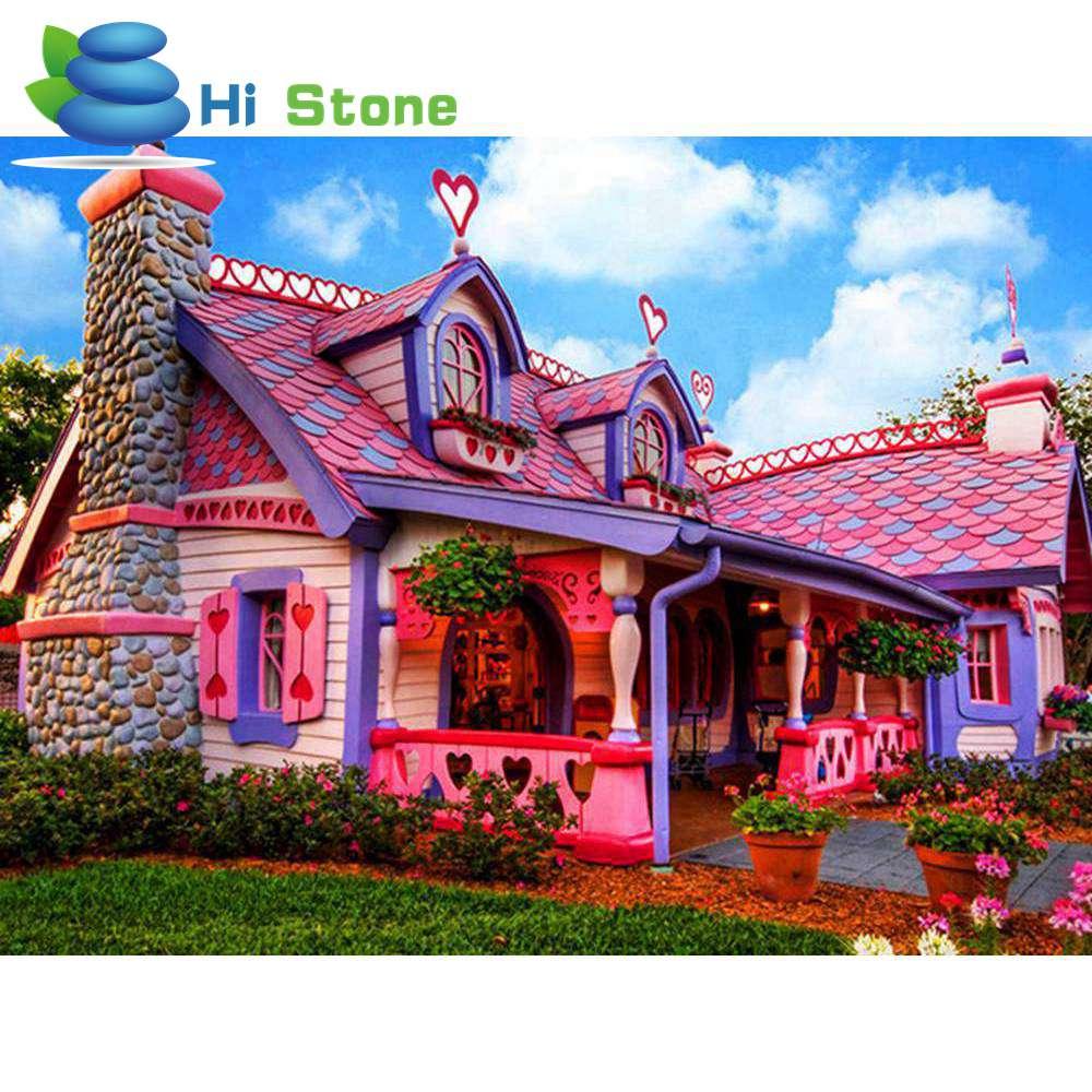 5D DIY алмазов картина розовый замок Вышивка крестом полный горный хрусталь Strass фотографии мозаика живопись Home Decor подарок