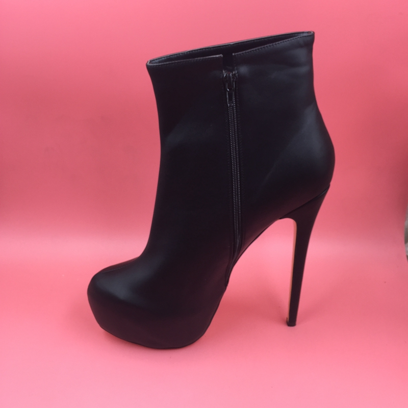 Black Faux Soft Leather Ankle High Boots Stiletto Short Women Boots High Heels Platform Winter Style Round Toe New Shoes 2016 faux soft leather mesh fabric women boots see through high heels stilettos ankle high fall style women booties heel ankle boots