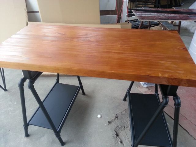 Iron Retro Dinette Combination Of Solid Wood Dining Table Conference Desk Simple Pine Tables
