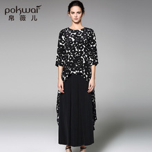 POKWAI Fashion Long Silk Shirts Women Tops 2017 Luxury Brand Quality Clothing Casual Polka Dot Blouse O-Neck Button Chiffon Top