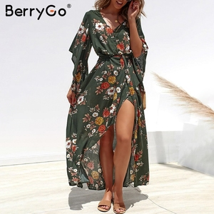 Image 2 - BerryGo Boho floral print women long dress Summer dresses asymmetrical sleeve sashes split chiffon dresses beach female vestidos