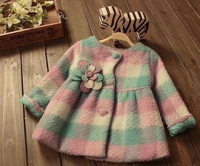 2017 Fall Little Girls Cute Multicolored Plaid Wool Jacket Baby Kids Flowers Princess Tweed Coat Children's Fashion Overcoat A7