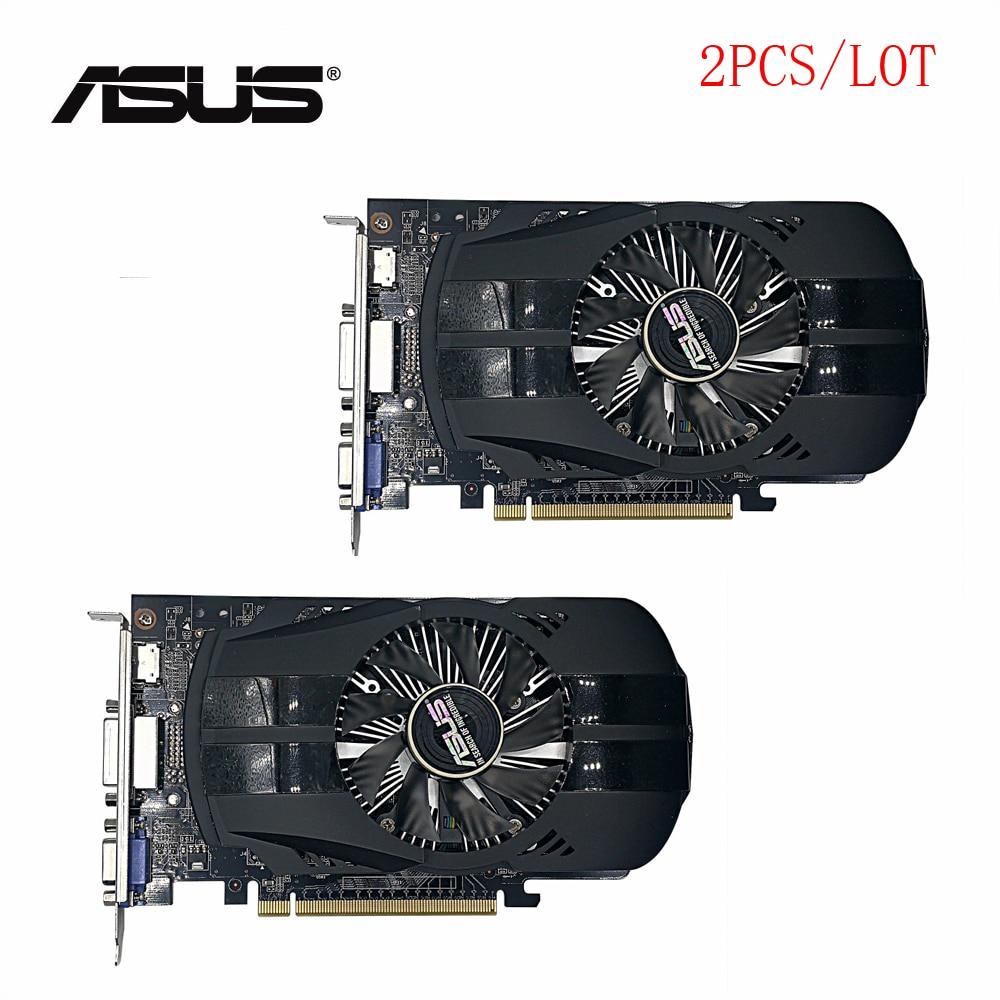 Usado 2 unids/lote original ASUS GTX 750TI 2 GB 128bit GDDR5 PC de escritorio tarjeta gráfica ¡100% probado bien!