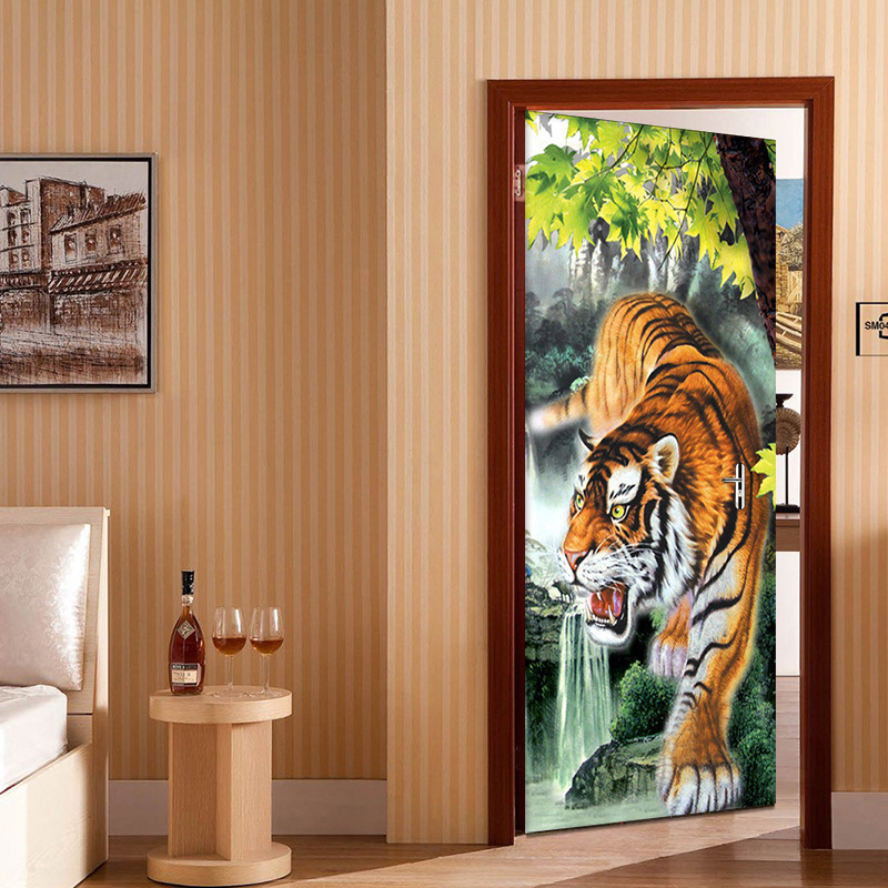3D Wallpaper PVC Self-Adhesive Waterproof Tiger Mural Photo Wall Door Sticker Living Room Creative Home Decor Papel De Parede 3D colorful creative world map photo wallpaper living room office modern simple decor 3d non woven mural papel de parede infantil