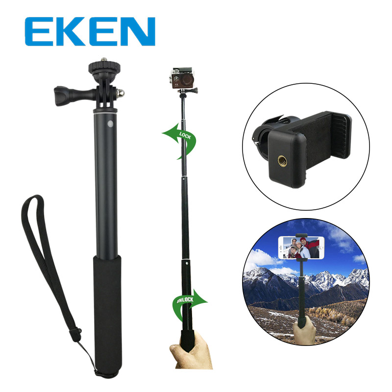 EKEN Aluminum Alloy Self-portrait Monopod Extendable Selfie Stick Mobile Phone Clip Set 360 Degree Rotation for Sport Camera