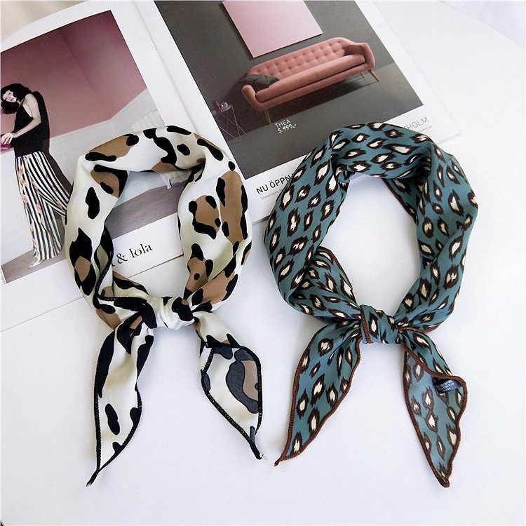 2018 Fashion Women Elegant Square Silk Feel Satin Leopard Scarf Skinny  Retro Head Neck Hair Tie 5283a2d28bf